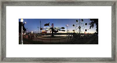 Lakeside Amusement Park At Night Panorama Photo Framed Print by Jeff Schomay