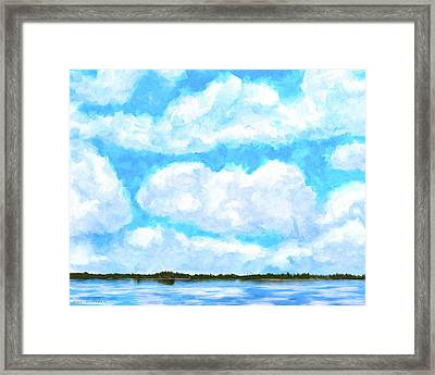 Framed Print featuring the mixed media Lakeside Blue - Georgia Abstract Landscape by Mark Tisdale