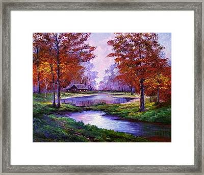 Lakeside Cabin Framed Print by David Lloyd Glover