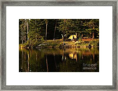 Framed Print featuring the photograph Lakeside Campsite by Larry Ricker