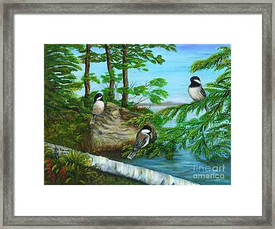 Lakeside Chickadees Framed Print by Judy Filarecki