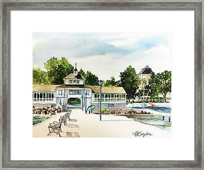 Lakeside Dock And Pavilion Framed Print