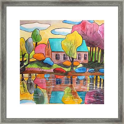 Framed Print featuring the painting Lakeside Dream House by John Williams
