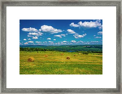 Framed Print featuring the photograph Lakeside Hayfield II by Steven Ainsworth