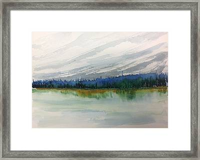 Lakeside - Mountain Foothill  - Banff Framed Print
