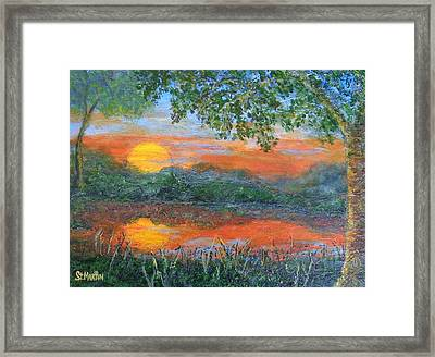 Lakeside Sunset Framed Print by Annie St Martin