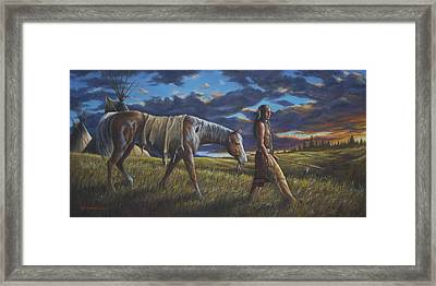 Framed Print featuring the painting Lakota Sunrise by Kim Lockman