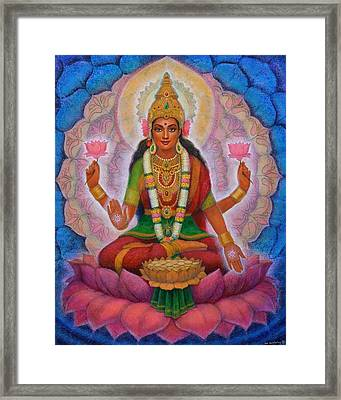 Framed Print featuring the painting Lakshmi Blessing by Sue Halstenberg