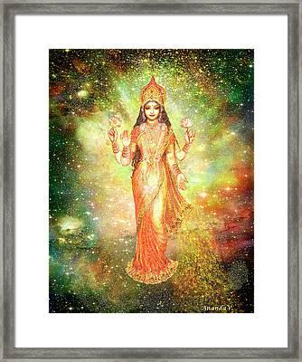 Lakshmi In A Galaxy  Framed Print by Ananda Vdovic