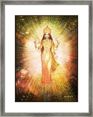 Lakshmi In A Galaxy, Radiating Pink Light Framed Print by Ananda Vdovic