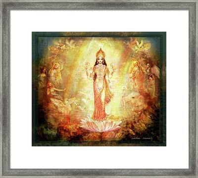 Lakshmi With Angels And Muses 1 Framed Print