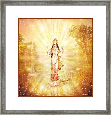 Lakshmi With The Waterfall - Light Framed Print by Ananda Vdovic