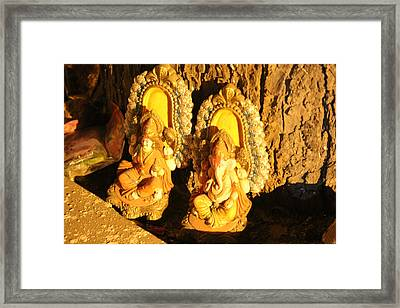 Lakshmi And Ganesha, Vrindavan Framed Print