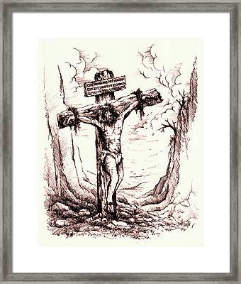Lamb Of God Framed Print by Rachel Christine Nowicki