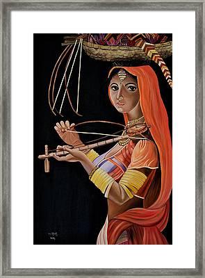 Lambani Girl Framed Print by Usha Rai