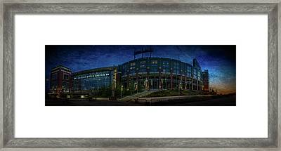 Framed Print featuring the photograph Lambeau Field At Dusk by Joel Witmeyer