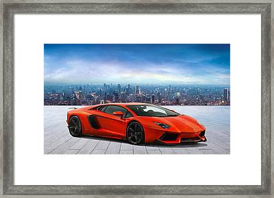 Lambo Cityscape Framed Print by Peter Chilelli