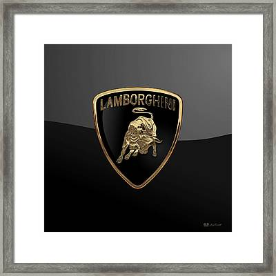 Lamborghini - 3d Badge On Black Framed Print