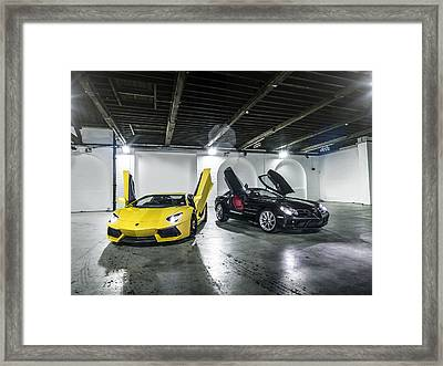Lamborghini Aventador And Mercedes Slr Framed Print