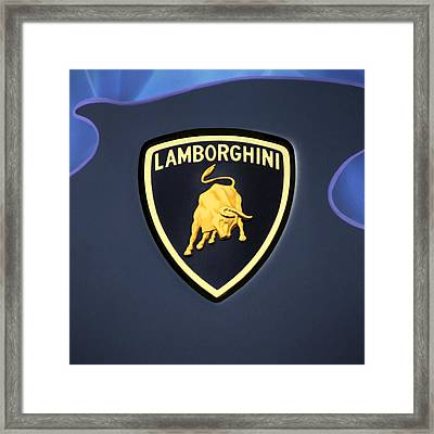 Lamborghini Emblem Framed Print by Mike McGlothlen