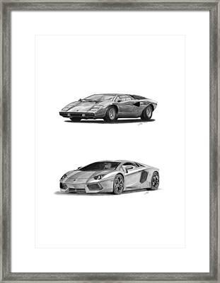 Lamborghini Lp V12 Duo Framed Print by Gabor Vida