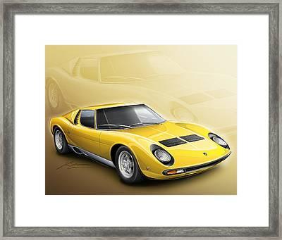 Lamborghini Miura Sv 1966-1973 Framed Print by Etienne Carignan
