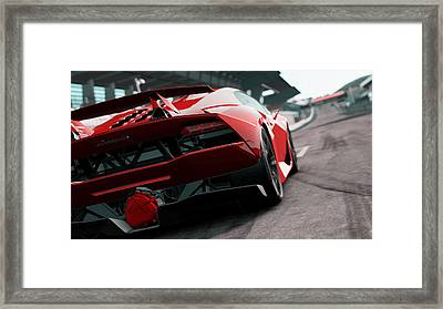 Lamborghini Sesto Elemento - Rear View Framed Print by Andrea Mazzocchetti