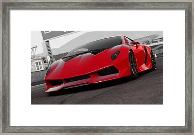 Lamborghini Sesto Elemento - Red Efesto Framed Print by Andrea Mazzocchetti