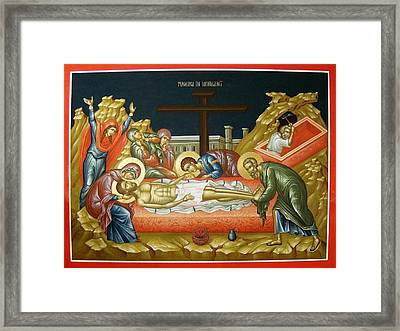 Lamentation Upon The Grave Framed Print by Daniel Neculae