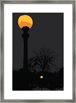 Lamp At Night Framed Print