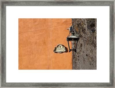 Lamp At The Corner. Framed Print