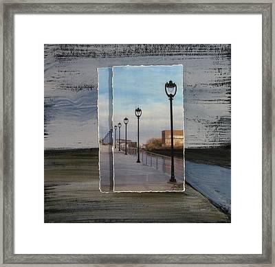 Lamp Post Row Layered Framed Print by Anita Burgermeister