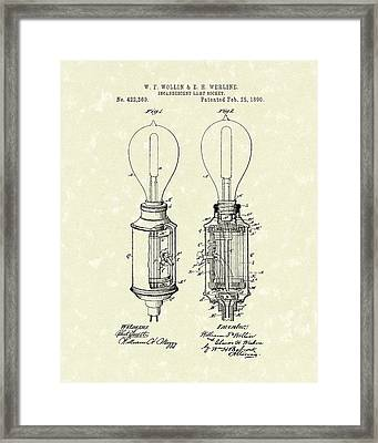 Lamp Socket 1890 Patent Art Framed Print by Prior Art Design