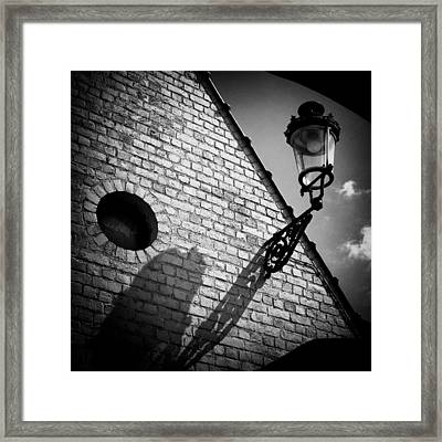 Lamp With Shadow Framed Print by Dave Bowman
