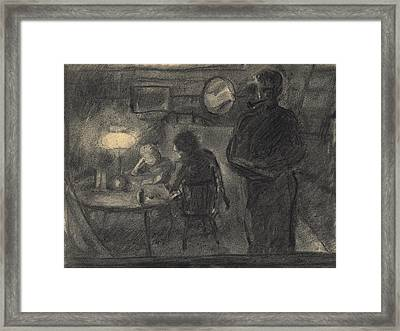 Lamplight In The Cabin Framed Print