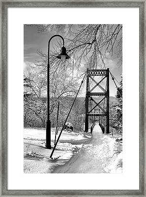 Lamppost And Androscoggin Swinging Bridge In Winter Framed Print by Olivier Le Queinec