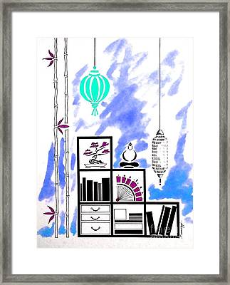 Lamps, Books, Bamboo -- Blue Framed Print by Jayne Somogy