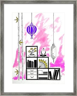 Lamps, Books, Bamboo -- Fuchsia Framed Print by Jayne Somogy