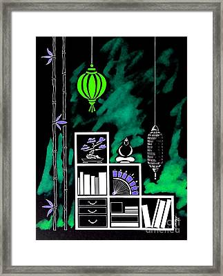 Lamps, Books, Bamboo -- Negative 2 Framed Print by Jayne Somogy