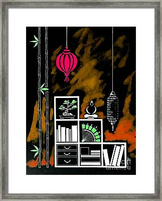 Lamps, Books, Bamboo -- Negative 4 Framed Print by Jayne Somogy
