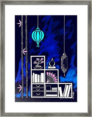 Lamps, Books, Bamboo -- Negative Framed Print