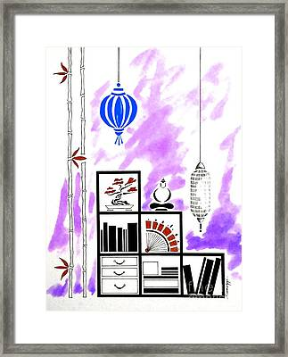 Lamps, Books, Bamboo -- Purple Framed Print by Jayne Somogy