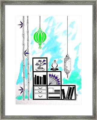 Lamps, Books, Bamboo -- Turquoise Framed Print