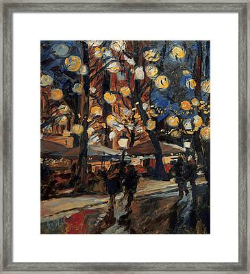 Lampy Night Framed Print