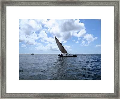Lamu Island - Taifa - Wooden Fishing Dhow In The Wind Framed Print