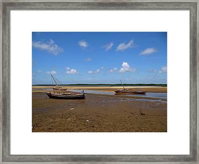 Lamu Island - Three Wooden Fishing Dhows At Low Tide Framed Print