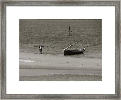 Lamu Island - Wooden Fishing Dhow Getting Unloaded - Black And White Framed Print
