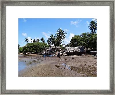 Lamu Island - Wooden Fishing Dhows And Village At Rear 1 Framed Print