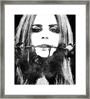 Lana Del Rey Bw Portrait Framed Print