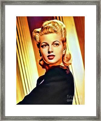 Lana Turner, Vintage Actress. Digital Art By Mb Framed Print